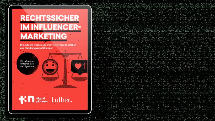 """Das Cover des t3n Guides """"Rechtssicher im Influencer-Marketing"""" mit der Luther Rechtsanwaltsgesellschaft"""