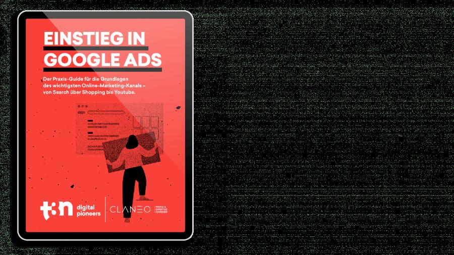 """Das Cover des t3n Guides """"Einstieg in Google Ads"""" mit der Berliner Agentur Claneo"""