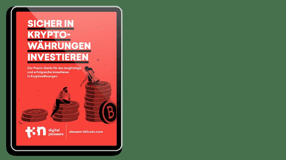 """Das Cover des t3n Guides """"Sicher in Kryptowährungen investieren"""""""